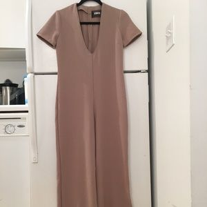 Reformation V-Neck Tan Jumpsuit Bodysuit Size 0